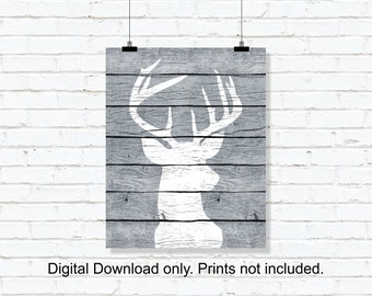 Deer silhouette, Deer Head  Wooden boards, Deer Black and White Digital Print, Printable wall art, 8x10, INSTANT DOWNLOAD