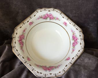 Vintage Thomas Hughes Unicorn pottery serving bowl in pink roses Rosalie pattern, gold swags