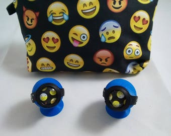 2 Emoji Bowl Savers(save-a-bowls) And Matching Emoji Stash Bag