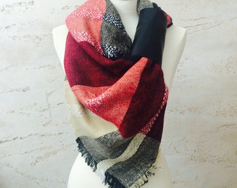 Christmas Gift Large Scarf Blanket Scarf Plaid Scarf Plaid Shawl Winter Scarf for Women Gift For Her