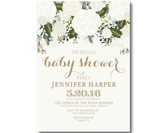 Vintage Baby Shower Invitation, Fall Baby Shower Invitation, Girl Baby Shower Invitation, Vintage Floral, Floral Baby Shower #CL112