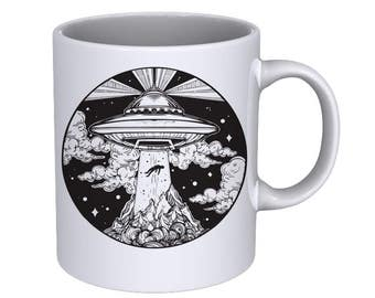 Alien Spaceship UFO with Flying Human - Cool Funny - Coffee Mug - Best Gift !!!
