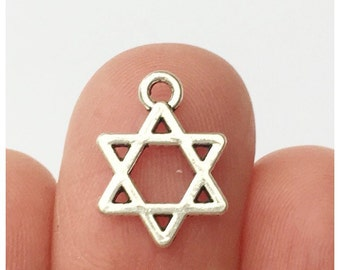 16 Star of David Charms Antique Silver  14 x 10mm - SC400