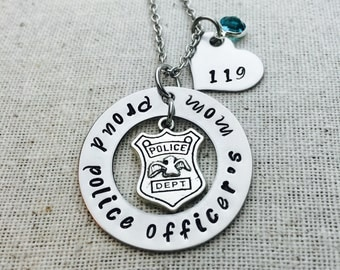 Proud Police Officer's Mom Custom Necklace-Hand Stamped-Police Officer Wife-Girlfriend-Mom-Gift For Her-Thin Blue Line-Law Enforcement-LEO
