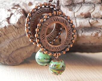 Greenery Earrings, Copper Earrings, Green Glass Earrings, Glass Drop Earrings, Brass Earrings, Brass Jewelry, Boho Dangle Earrings