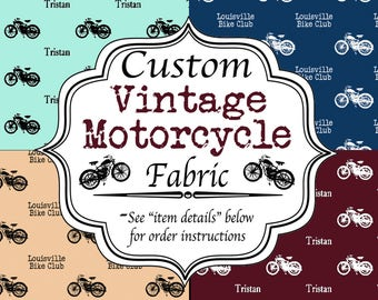 Motorcycle Name Fabric - Any Name or Phrase - Choose from 44 Colors and 10 Fonts for a unique personalized sewing project or gift