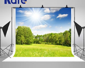 Spring Sunny Green Forest Photography Backdrops Blue Sky White Clouds Photo Backgrounds for Nature Landscape Studio Props