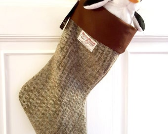 Harris Tweed Christmas stocking in traditional Lovat herringbone, brown and beige Harris Tweed.