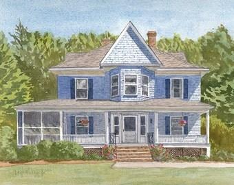 "8x10"", custom house portrait, house, custom painting, watercolor house painting, hand painted, new home art, custom gift, housewarming gift"