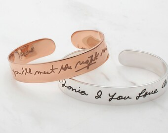 20% off Memorial Gift with Engraved Handwriting /Personalized Handwriting Jewelry /Handwriting Gifts / Silver Handwritten Jewelry JB03