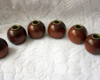 Set of 6 Brass lined candle holders, Round Wood Candle Holders,
