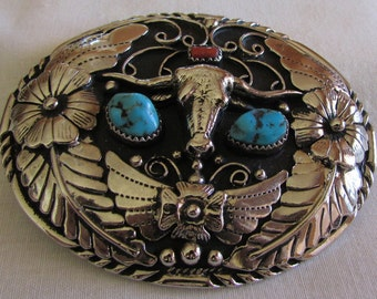 Large Silvertone Steer Skull Coral and Turquoise Belt Buckle