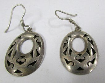 Sterling Silver Wire Dangle Oval Shadow Box Earrings from Mexico