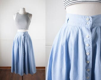 High Waisted Chambray Skirt, Maxi Skirt, Cotton Skirt, Long Skirt, Full Skirt, 80s Skirt, High Waist Skirt, Denim Skirt, Summer Skirt