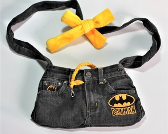 PET SLING CARRIER XXSmall Teacup / Purse made from Upcycled Black Batman Jeans