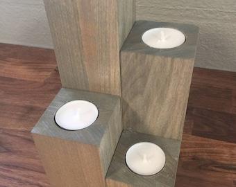 Wood Block Tea Light Candle Holder Centerpiece