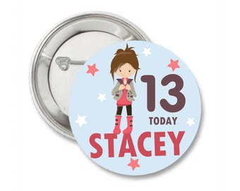 Personalised Birthday Badge / ANY AGE Birthday Pin Badge / Birthday Gift / Birthday Pin Badge/ Birthday Party Badge.