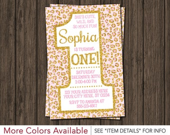 Cheetah First Birthday Invitation | Light Pink and Gold Safari 1st Birthday Invitations