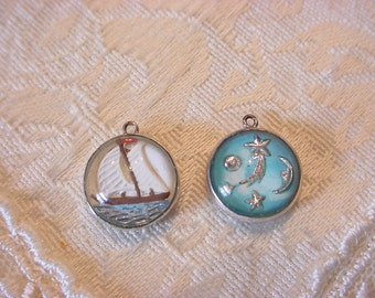 Choose One ~ Antique  Intaglio Crystal Sterling Silver Glass Bubble Charm Reverse Painted ~ SAIL BOAT or SHOOTING Stars