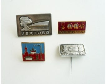 Set of 4 vintage Soviet badge of the 1980s