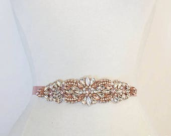 Rose Gold Bridal Belt on Ribbon Sash - Rose Gold Bridal Sash - opal bridal belt-  Rose Gold Belt -EYMbellish - champagne bridal belt B112