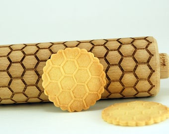 HONEYCOMB  – Embossing wooden rolling pin, embossed pets rolling pin, laser engraved, aniversary, wedding, birthday gifts