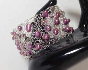 Statement Cuff Bracelet, Purple Wine Cultured Pearls, AB Luster Faceted Glass, Non-Tarnish Silver Plated Wire, Wire Crochet