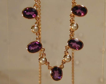 """9ct rose gold necklace amethyst & pearl 16"""" - 18"""" long beautiful 3.25 cts"""