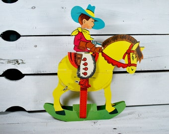 Cowboy and Horse Cardboard Toy , Honeycomb Paper , Danemark 1950 Toy