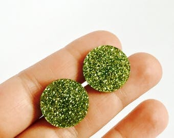 Glitter green circles earrings