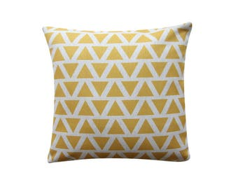 "Yellow Triangles Pillow Cover, Geometric Cushion, 22"" x 22"" Decorative Pillow Cover Throw Pillow Couch Sofa Cushion Accent Pillow 163"