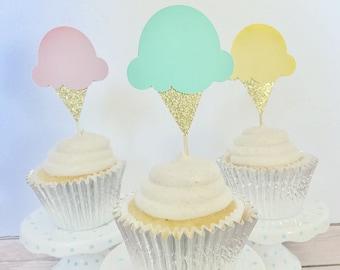 Ice Cream Cupcake Toppers/ Ice Cream birthday party/ set of 12