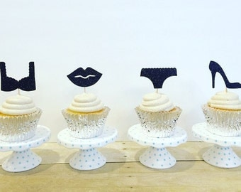 Bachelorette Party Cupcake Toppers / Lingerie / Bridal Shower / Set of 12