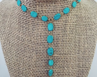 Turquoise Drop Y-Necklace