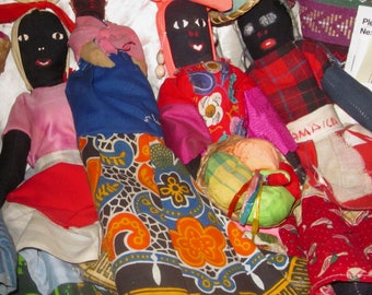 5 JAMAICAN FOLK DOLLS Vintage, Folk Dolls, Jamaican Soft Dolls,Ethnic Jamaican Folk Dolls, Vintage Handmade Black Dolls, Souvenir Folk Dolls