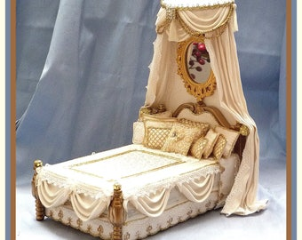 1/12 scale Miniature Dollhouse Silk Canopy Bed