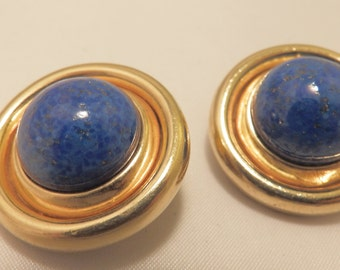 Gold Tone Blue Round Ciner Clip On Earrings