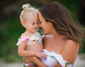 Mummy and Me Off the Shoulder Bikinis, Mommy and Me swimwear, Mummy and me swimsuits, matching, mommy and me swimsuits