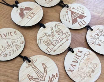 Bag Tags. Timber bag tags for boys