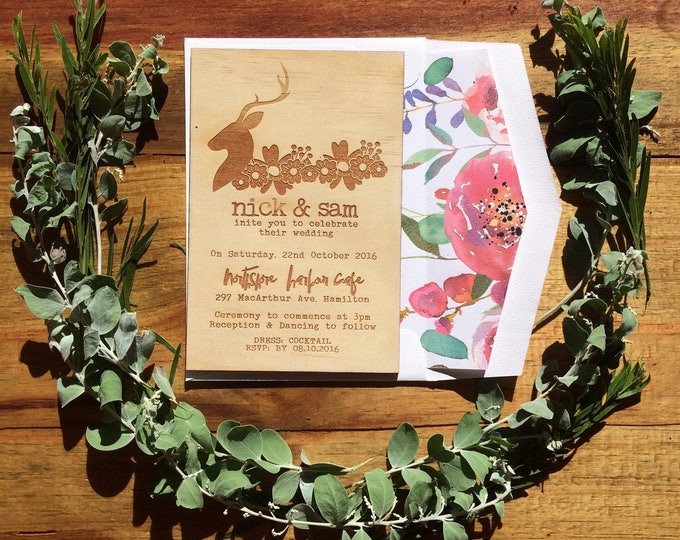 Wedding Invitation Rustic. -Limited Edition Wood invitation and rustic florals lined envelope set- Stag wedding invitation. 10 pack