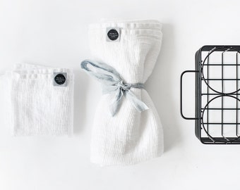 Set of hand and bath waffle linen towel/ Washed waffle linen towels in white / READY TO SHIP