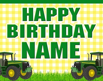 Tractor Birthday Banner (yellow)