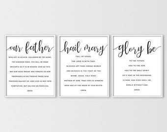 Prayer Prints, The Lords Prayer, Hail Mary, Glory Be, Catholic Print, Christian Print, Confirmation Gift, Bible Prints, 3 Instant Downloads
