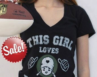 V Neck Tee This Girl Loves Football Shirt Vintage T Shirt Graphic Tee Football Gifts Football Shirts For Womens Game Day Shirt