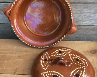 Art Pottery Bowl with Lid Stoneware Candy Dish Nuts Trinket Jewelry Money Soap Farmhouse Decor