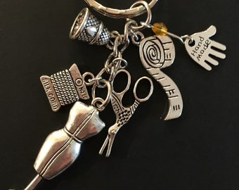 Sewing keyring ~ Bag charm ~ Perfect gift for the seamstress or tailor in your life ~ So much fabric! x