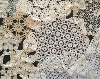 Lot of 26 Vintage Crochet Doilies - White and Off-White A4