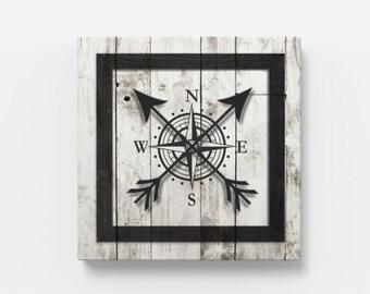 "Nautical Compass 12"" x 12"" Canvas Wall Art"