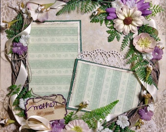 My Mother, My Friend Premade 2 photo Scrapbook Page; Green, Purple, Wreath, Flowers, Shabby Chic, Rustic, Woman, Mother's Day, Birthday