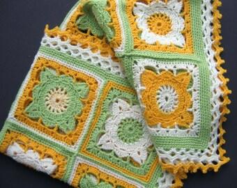 Crochet afghan baby crochet blanket handmade blanket granny square afghan green and yellow blanket